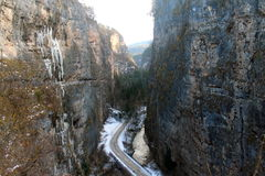 La neve nel canyon fotografia stock
