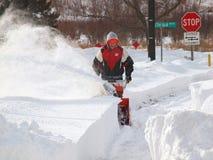 La neve pulisce, una bufera di neve di 2011 Fotografie Stock Libere da Diritti