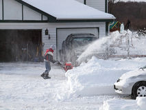 La neve pulisce, una bufera di neve di 2011 Immagini Stock Libere da Diritti