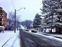 La neve si sfalda in via di Toronto Fotografia Stock Libera da Diritti