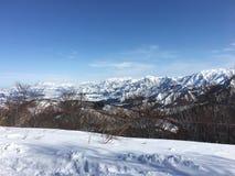 La neve sulla montagna Fotografie Stock