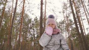 La niña adorable agita la mano a la cámara y al fondo del bosque del invierno metrajes
