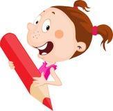La niña alegre sostiene el lápiz rojo que mira a escondidas hacia fuera diseño plano ilustración del vector