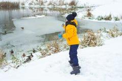 La niña alimenta los patos hambrientos en un lago congelado fotos de archivo