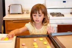 La niña coloca la pasta de la galleta en la bandeja del horno Foto de archivo
