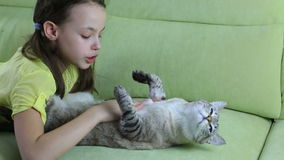 La niña comunica con su gato querido almacen de video