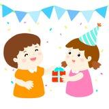La niña da el regalo al muchacho en el partido ilustración del vector