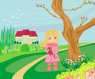 La niña es el caminar que camina en día de primavera Imágenes de archivo libres de regalías