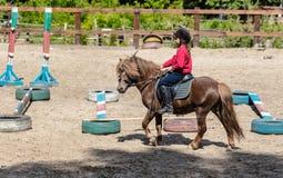 La niña está montando un caballo fotografía de archivo