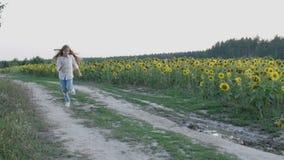 La niña feliz corre en la trayectoria cerca de campo de los girasoles almacen de metraje de vídeo