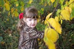 La niña feliz mira lejos al lado de árboles amarillos Imagen de archivo