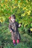 La niña hermosa se coloca al lado de árboles amarillos Foto de archivo libre de regalías
