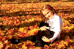 La niña juega con su gato en el parque del otoño Imagen de archivo