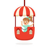 La niña linda que monta un carrusel colorido, niño se divierte en el ejemplo del vector de la historieta del parque de atraccione stock de ilustración