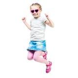 La niña linda salta Fotografía de archivo libre de regalías