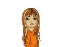 La niña lloraba Los rasgones fluyen abajo de sus mejillas Retrato Fotografía de archivo libre de regalías