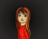 La niña lloraba Los rasgones fluyen abajo de sus mejillas Retrato Foto de archivo