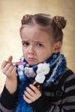 La niña no le gusta el jarabe de la tos Fotografía de archivo libre de regalías
