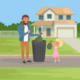 La niña que ayuda a su padre que lanza hacia fuera desperdicios empaqueta en compartimiento de basura Concepto del quehacer domés ilustración del vector