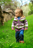 La niña recorre en el resorte en una hierba joven imagen de archivo