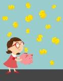La niña salva el dinero Imagen de archivo libre de regalías
