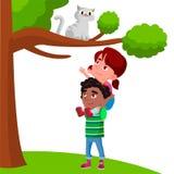 La niña se sienta en los hombros del muchacho y tira de sus manos al ejemplo plano de la historieta de Cat Sitting On Tree Vector ilustración del vector
