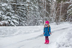 La niña se vistió en una capa azul y un sombrero rosado y patea tiros nieva y las risas Fotografía de archivo libre de regalías