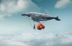 La niña tiene su sueño a viajar en el aire imagen de archivo