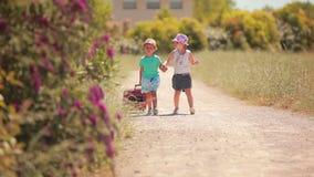 La niña y el muchacho van en el camino con un caso metrajes