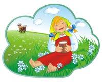 La niña bebe la leche Imagen de archivo libre de regalías