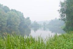 La niebla cubrió el lago Fotos de archivo libres de regalías
