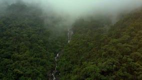 La niebla de la visión aérea cae abajo barranco con el río rápido de la montaña almacen de metraje de vídeo