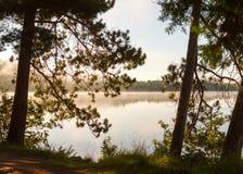 La niebla del amanecer asoma sobre un lago tranquilo foto de archivo