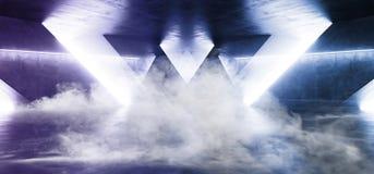La niebla del humo fuma el túnel subterráneo Hall Glowing Purple de la nave espacial de Sci Fi del cemento del garaje concreto br ilustración del vector