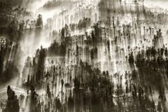 La niebla que fluía sobre el pueblo de Cemoro Lawang en la mañana localizó al noreste de Mt Bromo, Indonesia imagenes de archivo