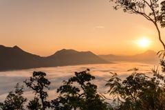La niebla y el sol en Tailandia Imagen de archivo libre de regalías
