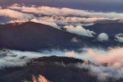 La niebla y la salida del sol de la mañana se encienden sobre el bosque Foto de archivo libre de regalías