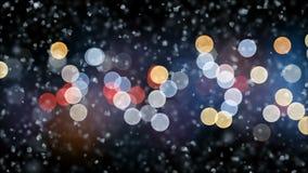La nieve apacible hermosa de la Navidad que cae el noche enciende el fondo del centelleo con la brisa lenta inconsútil Cámara len stock de ilustración