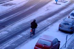 La nieve cae en Dinamarca foto de archivo libre de regalías
