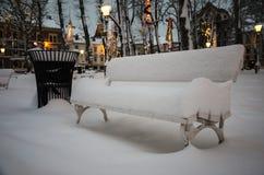 La nieve cowered banco Foto de archivo libre de regalías