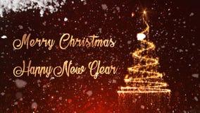 La nieve de la chispa del oro de la Feliz Año Nuevo de la Feliz Navidad revela el lazo 4K metrajes