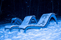 La nieve de la noche del invierno cae en el parque Imagen de archivo