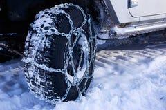 La nieve de las cadenas Foto de archivo libre de regalías