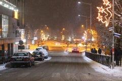 La nieve de Petrich en el invierno que iguala en 2019 enero está nevando imagen de archivo libre de regalías