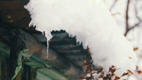 La nieve derrite de los tejados y de los goteos abajo en la primavera almacen de metraje de vídeo