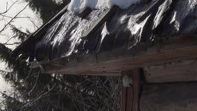 La nieve derrite y el agua cae el goteo del tejado viejo de la casa metrajes