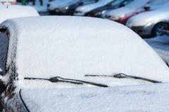 La nieve en el parabrisas Imagen de archivo libre de regalías
