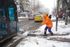 La nieve es Estambul Foto de archivo libre de regalías