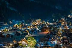 La nieve que cae en enciende para arriba festival en el invierno, Japón Foto de archivo libre de regalías
