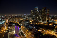 LA Night Wide. Los Angeles Skyline night view with plenty of negative space to the left for graphics or text Royalty Free Stock Image